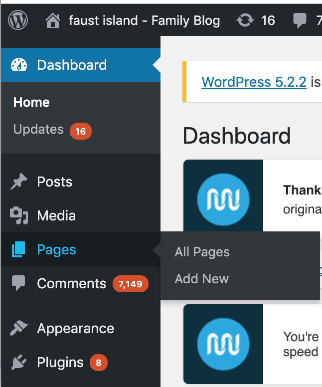 How to add a new page in wordpress.