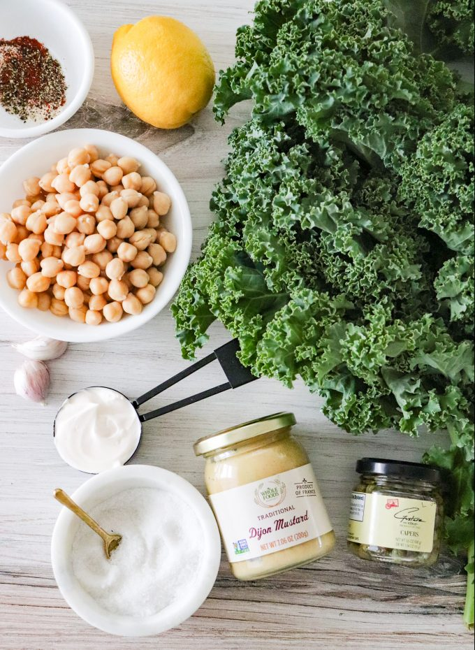 Healthy Mom Blogger 2021 Kale Vegan Caesar salad Roasted Chickpeas
