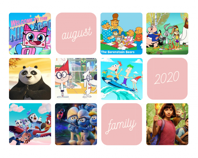 What cartoons and family shows are streaming in 2020 August