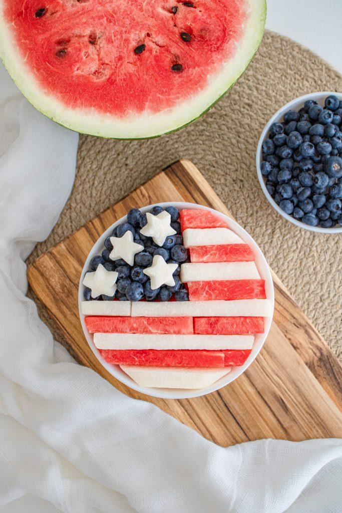 Healthy Patriotic Desert Flag Fruit Salad from Mom Blogger Amber Faust 2022 Instagram Influencer